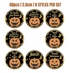 50PCS 25mm Halloween Sticker Trick or Treat Sticker Halloween Party Bag Sticker