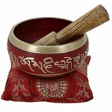 More details for tibetan singing bowl meditation red art buddhist décor 4 inch