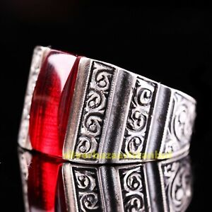 Luxury Ruby Red Stone Turkish Handmade 925 Sterling Silver Mens Ring All Sizes