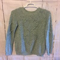LC Lauren Conrad Womens Heart Knit Pullover Sweater Blue Green Turquoise Size M