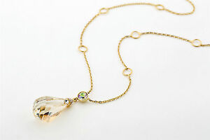 Long Chain Necklace Gold Plated Made with Swarovski Crystals Necklace
