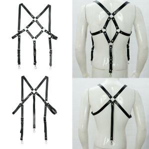 Men's Adjustable Leather Suspenders Rivets O-rings Decor Harness Shoulder Straps