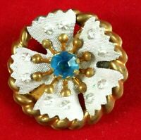 Vintage Brooch Flower Small Pin Blue Rhinestone Brass White Tone Metal Art Deco