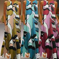 Women's Long Maxi Dress Floral Split Hem Summer Sleeveless Shirt Dress Plus Size