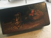 Antique Vintage Russian Paper Mache Lacquer Box Horses with Figures In Wagon