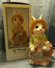 """Easter 16"""" Bunny Colorful Resin Rabbit Holding Carrot and Basket of Flowers"""