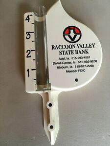 Vintage 4 in Rain Drop Advertising Rain Gauge - Raccoon Valley State Bank - Iowa