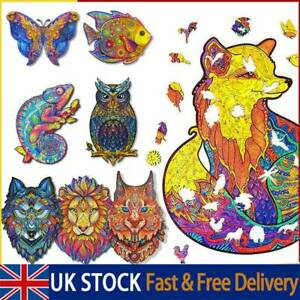 Wooden Jigsaw Puzzles Unique Animal Shape Pieces Adult Kid Toys Game Home Decor