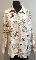 Karen Scott Women's Plus Size 1X Floral Blouse Linen Blend