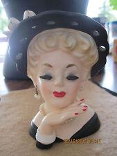 Vintage Black Hat Blonde Hair Ceramic Lady's Head Planter/Vase...50's/60's...