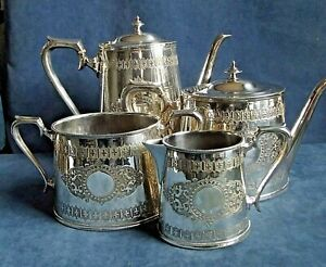 SUPERB ~ SILVER Plated ~ GOTHIC Styled ~ 4 Piece TEA SET ~ c1890