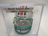 Mini Football Helmet Autographed Signed Woody Bennett #34 1980s Dolphins NFL