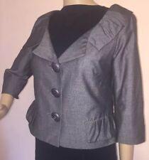 NEW! YOANA BARASCHI SZ 6 Gray Wool Blend Jacket Cropped Anthropologie Lined