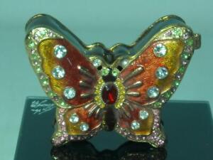 Juliana Treasured Trinkets BUTTERFLY Figure Metal Trinket Box Red Brown Gilt