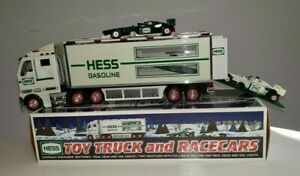 2003 Vintage Hess Toy Truck and Racecars In Original Box