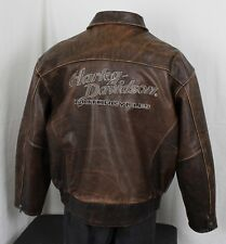 Harley-Davidson VTG Distressed Leather Motorcycle Bomber Jacket Brown Mens 2XL