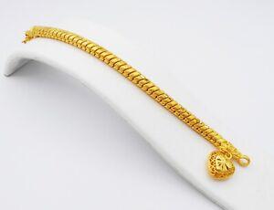 "Heart Link Bracelet 22K 24K Thai Baht Yellow Gold Plated Bangle Jewelry Women 7"""
