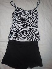 Capezio Black & White Tiger & BCG Black Booty Shorts Dance Gymnastics Size 7 CS