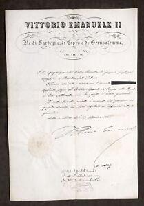 Decreto Regno Sardegna Autografo Re Vittorio Emanuele II e Urbano Rattazzi 1854