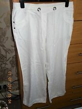 White Linen Trousers Size 16 Euro 44 BHS