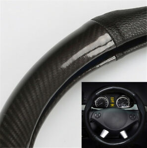 1x Carbon Look Car Auto Steering Wheel Cover Black PU Leather Universal 38mm FIT