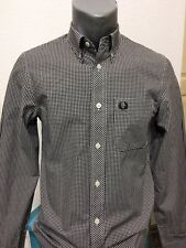 FRED PERRY Plaid Long Sleeved Shirt White Black BNWOT Size XS