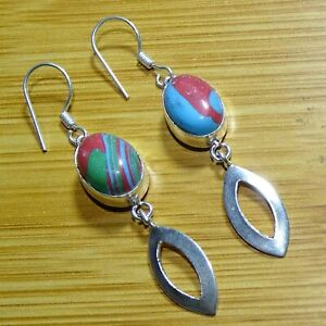 """Rainbow Calsilica 925 Sterling Silver Plated Earrings Jewelry 2.25 """"Inch AMR77"""