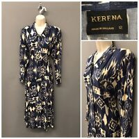 Kerena Navy Mix Retro Dress UK 12 EUR 40 US 8