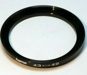 43mm to 49mm Step-up ring Metal adapter  double threaded for lens filter