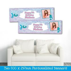 2 PERSONALISED MERMAID PHOTO BIRTHDAY BANNERS - ANY NAME ANY AGE (800 X 297MM)