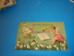 Antique Postcard EASTER Greetings CUPID playing Trombone to hen & chicks