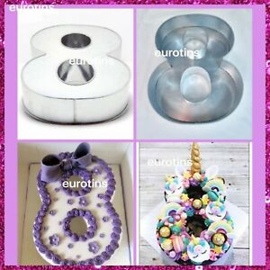 """Large Number 8 Eight Cake Tin pan Mould Birthday Anniversary Measure 14""""x10""""x3"""""""