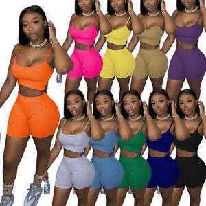 Women Cami Crop Top + Shorts Pants Gym Cycling Fitness Yoga Set Lounge Wear