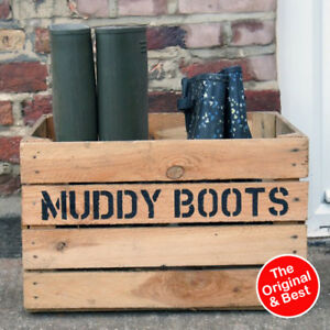 BOOT ROOM - SHOE RACK / STAND - Hand stenciled Muddy Boots Wooden Welly Crate