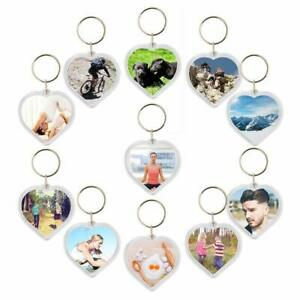 Acrylic Plastic Blank Clear Keyrings Heart Shape Photo Key Rings ))