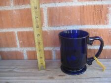 Vintage Large Thick Heavy Cobalt Blue Glass Pedestal Mug USA