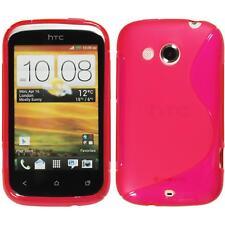 Silikon Hülle für HTC Desire C pink S-Style + 2 Schutzfolien