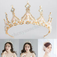Bridal Wedding Baroque Crown Queen Princess Crystal Tiara Women Hair Headband