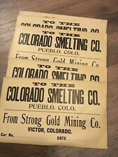 Cripple Creek Colorado Strong Gold Mining Co Ore Shipment Cards 1890's Lot Of 5