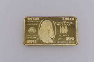 24K Gold Coins Dollar 100 Gold Bar Metal Commemorative Coin for Christmas Gift