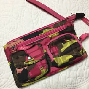 Lily Bloom Pink Green Brown Camouflage Multi-Pocket Zippered Wristlet Fits Phone