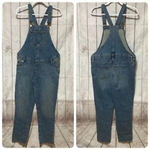 Isabel Maternity Bib Overalls Womens 2 Blue Jean Stretch Denim Raw Hem
