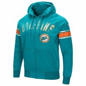 Miami Dolphins Men's Hands High Throwback Arena Full Zip Hoody Sweatshirt
