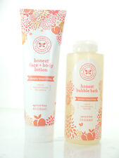 The Honest Company Face and Body Lotion 8.5 oz + bubble bath all in apricot kiss