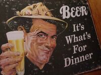 BEER - IT'S WHAT'S FOR DINNER Retro Style Fishing Tavern Lodge Bar Sign Decor