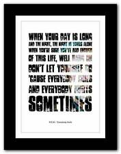 More details for ❤ r.e.m.- everybody hurts ❤ song lyrics typography poster art print - a1 a2 a3