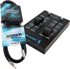Pepperdecks DJOCLATE portabler 2 Kanal Mixer+KEEPDRUM Verlängerung 3m Miniklinke