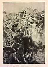 RARE - 1882 Engraving The Woman Of Beauvais Defending Under Jeanne Hachette