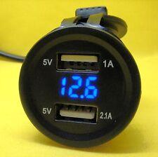 USB Dual 5V Power Charger Socket Outlet Blue Voltmeter 12V 24 DC Voltage Camper