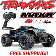 Traxxas Maxx 4S Brushless 4Wd 1/10 Monster Truck Blue 60+Mph Rtr - Free Shipping